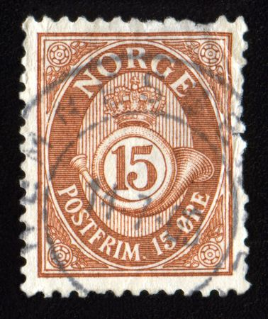 printed material: Vintage antique postage stamp from Norway