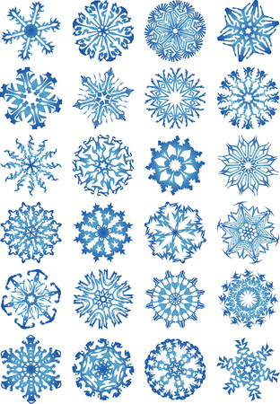 24 beautiful cold crystal gradient snowflakVector illustration. Fully editable, easy color change. Illustration