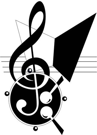 writing instrument: Abstract Music theme. Vector illustration. Fully editable, easy color change.  Illustration