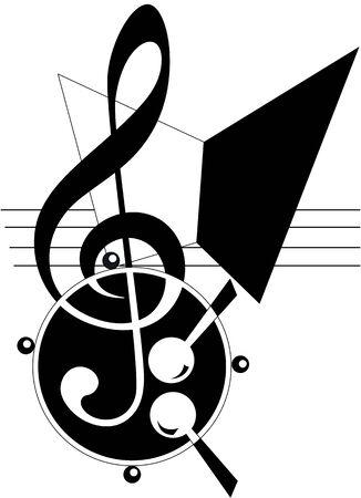 abstract music: Abstract Muziek thema. Vector illustratie. Fully editable, gemakkelijk kleur veranderen.