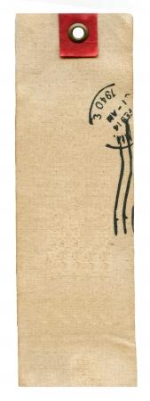 Textiel prise label met stempel geïsoleerd op wit Stockfoto