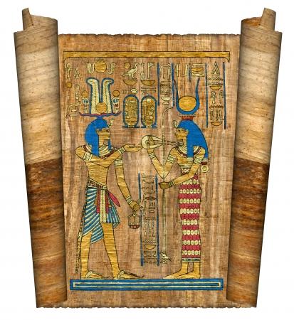scribes: Bella papiro egiziano con elementi di cerimoniale ornamento