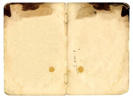 Old book open on both blank shabby pages photo