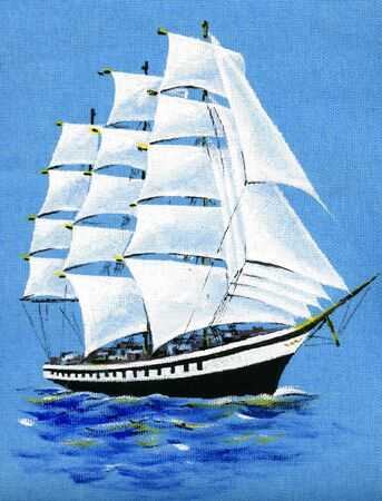 sailer: Picture on textile sailing ship