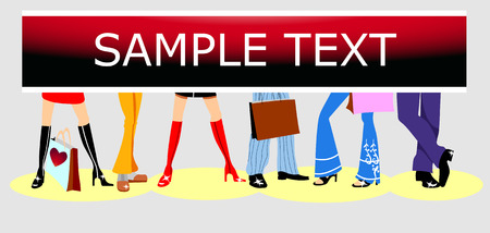 Shoe shop advertising. Fashion background. Copy space. Vector illustration. Fully editable, easy color change.