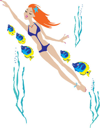 Beautiful girl swimming from the sea - vector illustraton. Fully editable, easy color change. Vector