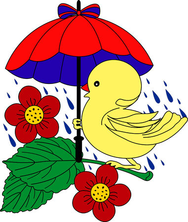 Little Duck under umbrella in rain - vector illustration. Fully editable, easy color change. Stock Vector - 3411639
