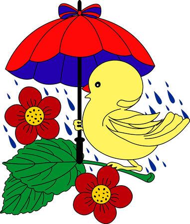 Little Duck unter Dach im Regen - Vektor-Illustration. Voll editierbar, einfach Farbe ändern.