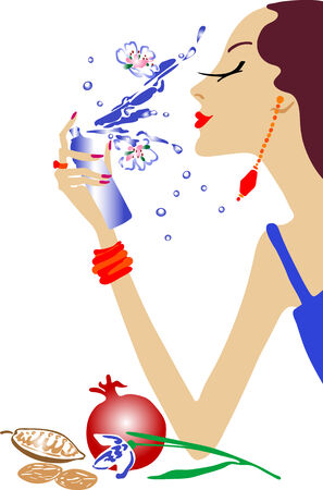 Fashion girl make up - illustraion wektorowej. W pełni edytowalne, łatwa zmiana kolorów.