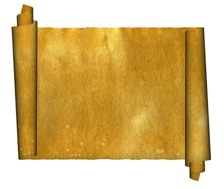 Vintage grunge rolled parchment illustration with ragged borders (natural paper texture) Foto de archivo