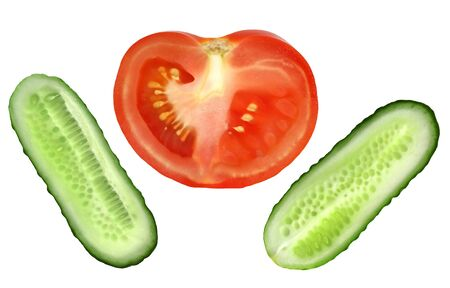 Fresh natural tomato and cucumber slice isolated on white Stock Photo - 3411655