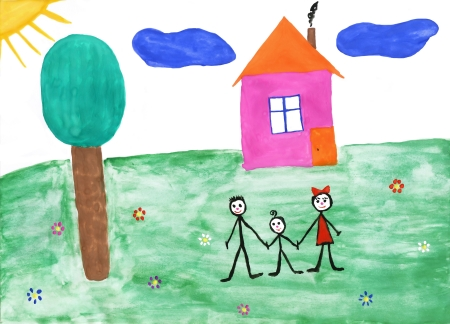 first house: Childrens paint family in summer nature