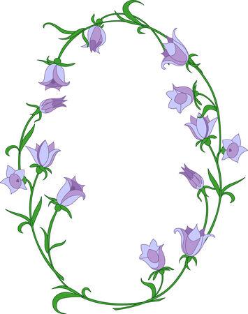 Bellflower ovals frame. Vector illustration. Fully editable, easy color change.