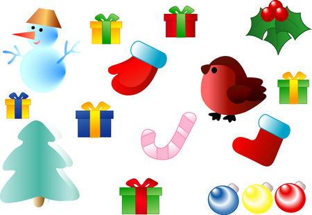 Kerst seizoen ornamenten. Vector illustratie. Volledig bewerkbare, eenvoudig kleur veranderen