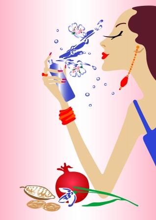 Fashion girl make up - illustraion wektorowej. W pełni edytowalne, łatwa zmiana koloru Ilustracja