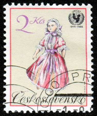 postal office: Vintage antique postage stamp from Czechoslovakia Stock Photo