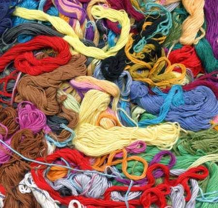 Close up of colour threads background Stock Photo - 3798497