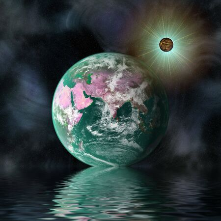 Earth blue planet in spacewith reflection in water photo