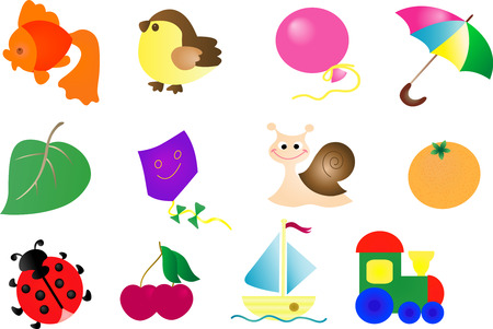 animal kite: Abstract toy icon set - vector illustration. Fully editable, easy color change. Illustration