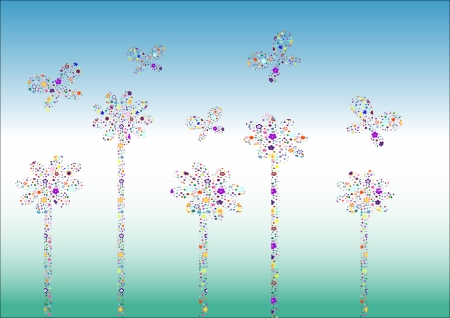 Abstract flowers background - vector illustration. Fully editable, easy color change. Stock Vector - 4015590