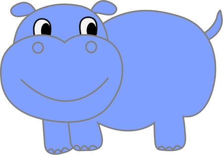 tiny: Funny hippopotamus - vector illustration. Fully editable, easy color change.