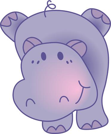 Funny hippopotamus - vector illustration. Fully editable, easy color change. Stock Vector - 4141849