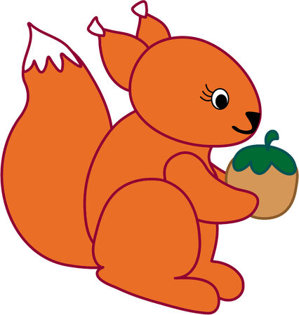 Funny squirrel  - vector illustration. Fully editable, easy color change. Stock Vector - 4141850
