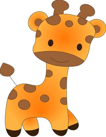 Zabawna żyrafa - ilustracji wektorowych. Zmiana koloru pełni edytowalne, łatwa.