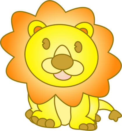 Funny lion - vector illustration. Fully editable, easy color change. Vector