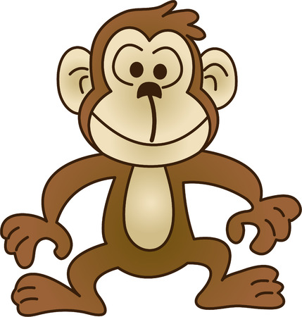 cute cartoon monkey: Funny monkey - vector illustration. Fully editable, easy color change.