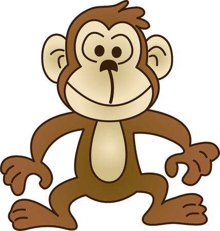 Funny Monkey - Vektor-Illustration. Voll editierbar, einfach Farbe ändern. Standard-Bild - 4141852