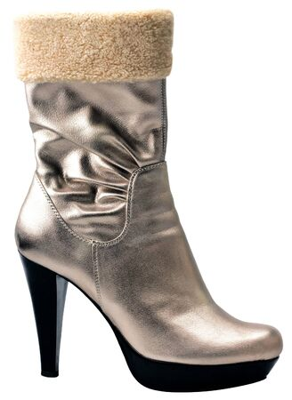 Stylish silver high heel fashion boot isolated on white Stock Photo - 4225764