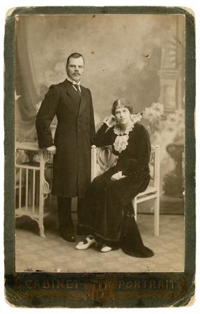 turns of the year: Vintage ruso fotograf�a (a�o 1916) en el antiguo marco Foto de archivo