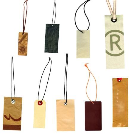 Verzameling van labels prise labels geïsoleerd op wit Stockfoto