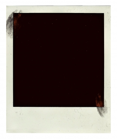 Vintage empy polaroid photo with ingerprint isolated on a white