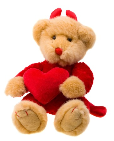 playthings: Bear-devil with big red heart isolated over white background. Put your own text over hear.