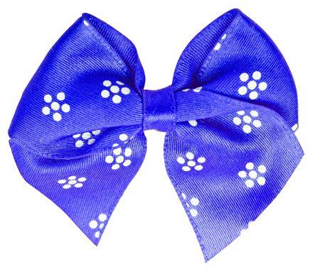 Blue festal bow isolated on white background photo