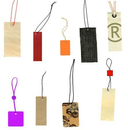Verzameling van etiketten prijs labels geïsoleerd op wit Stockfoto