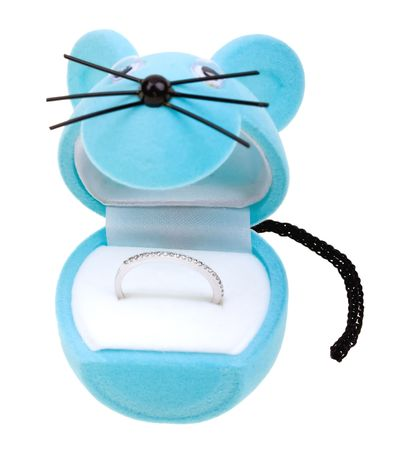 Blue box as funny mouse with diamond ring isolated on white photo