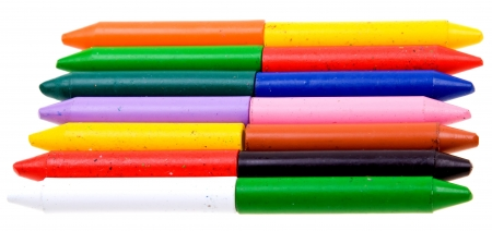 Color crayons isolated on white background photo
