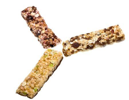 Close-up muesli stick isolated on white background photo