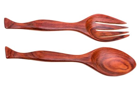 Old wooden spoon and fork isolated on white background photo