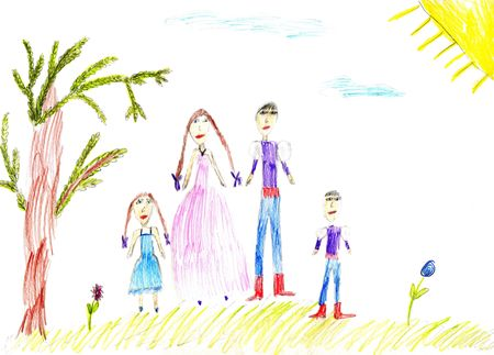 Children's paint family in summer nature to background Stock Photo - 4656537