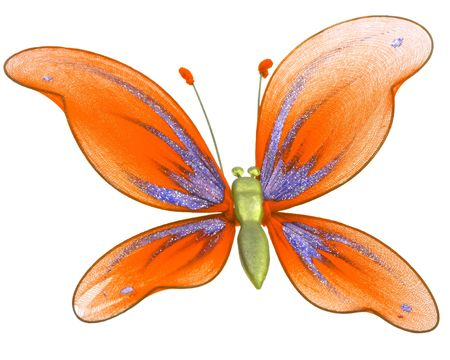 nicety: Beautiful butterfly decoration toy isolated on white background