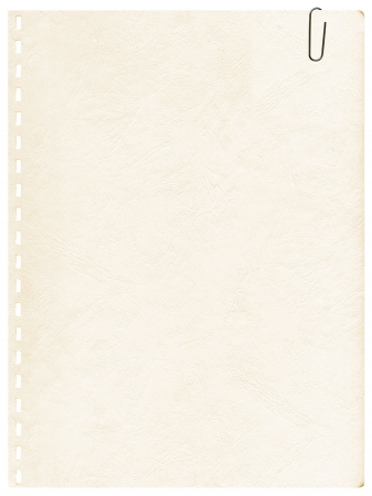 Vintage oude pagina van een notebook met clip voor background Stockfoto