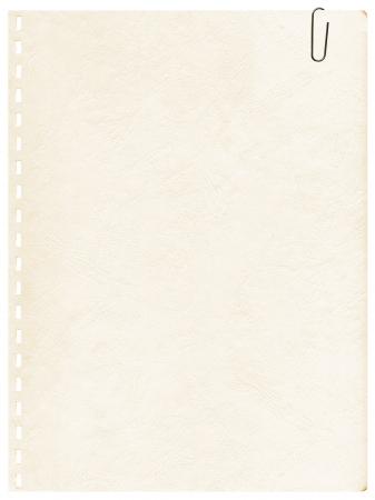 Vintage starą stronę z notebooka z klipsem na tle