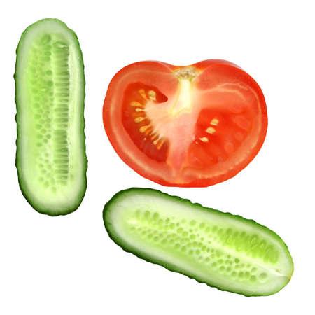 Fresh natural tomato and cucumber slice isolated on white background Stock Photo - 4741942