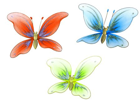 magnificence: Set of butterfly decoration toy isolated on white background