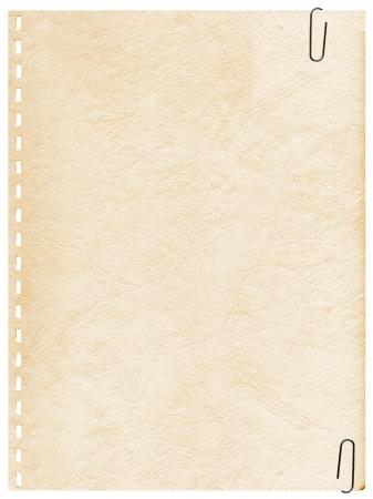 Jahrgang Seite aus einem alten Notebook mit Clip Hintergrund Standard-Bild - 4904483