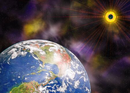 Earth blue planet and sun in space Stock Photo - 4904480
